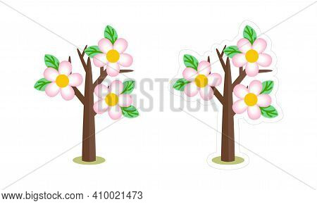 Vector Cartoon Patch Of Blooming Spring Tree. Cute Bare Tree Icon With Pink Flowers, Isolated On Whi