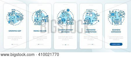 Growing Of Gross Domestic Product Onboarding Mobile App Page Screen With Concepts. Economy Adjustmen