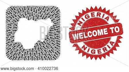 Vector Mosaic Nigeria Map Of Pointing Arrows And Grunge Welcome Seal Stamp. Mosaic Geographic Nigeri