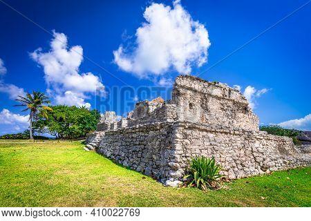 Tulum, Mexico. Gran Platforma Medieval Ruins In Mayan Ancient City, Central America.