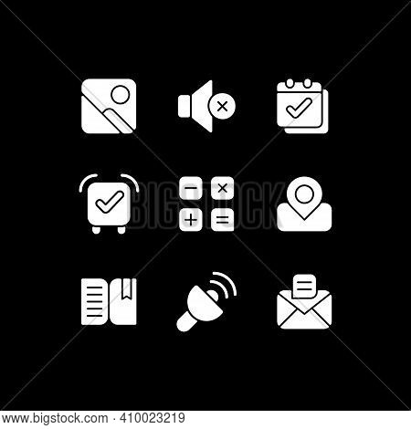 Smartphone Interface White Glyph Icons Set For Dark Mode. Photo Gallery. Silent Mode Setting. Smartp