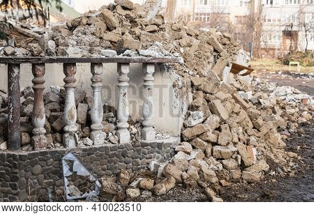 Ruined House. Demolition Of A Building.
