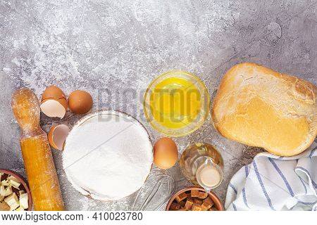Flour And Ingredients For Making Dough. Ingredients For Baking Pizza, Bread, Bakery