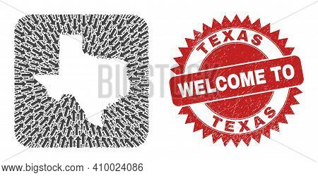 Vector Mosaic Texas State Map Of Delivery Arrows And Scratched Welcome Stamp. Mosaic Geographic Texa