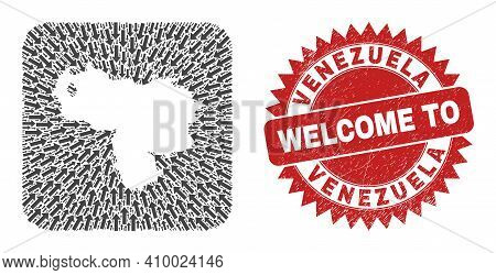 Vector Mosaic Venezuela Map Of Pointing Arrows And Rubber Welcome Seal Stamp. Mosaic Geographic Vene