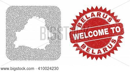 Vector Collage Belarus Map Of Straight Arrows And Rubber Welcome Seal Stamp. Collage Geographic Bela