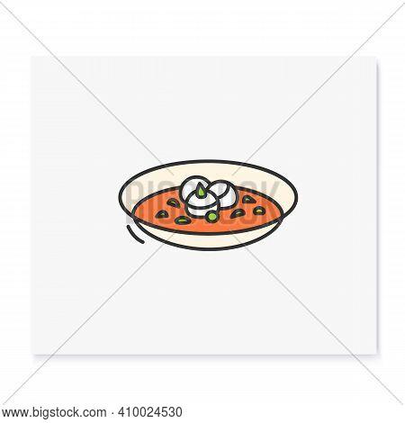 Hobakjuk Color Icon. Traditional Korean Pumpkin Porridge Bowl Outline Sign On White. Vegan Asian Foo