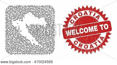 Vector Mosaic Croatia Map Of Moving Arrows And Rubber Welcome Badge. Mosaic Geographic Croatia Map C