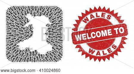 Vector Mosaic Wales Map Of Migration Arrows And Rubber Welcome Seal. Mosaic Geographic Wales Map Des