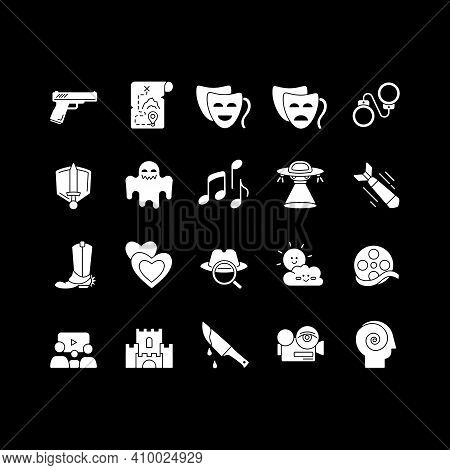 Different Film Genres White Glyph Icons Set For Dark Mode. Western Movie, Family Picture, Drama. Tel