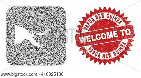 Vector Mosaic Papua New Guinea Map Of Moving Arrows And Grunge Welcome Badge. Mosaic Geographic Papu