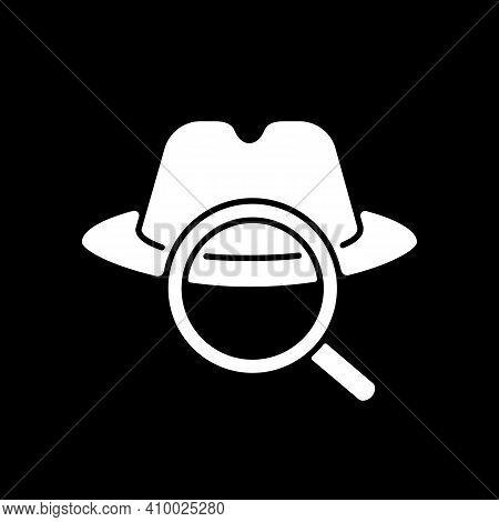 Detective Dark Mode Glyph Icon. Traditional Movie Genre, Classic Noir Film. Television Entertainment
