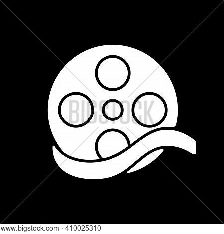 Documentary Film Dark Mode Glyph Icon. Common Movie Genre, Filmmaking Category. Television Entertain