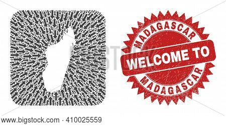 Vector Mosaic Madagascar Island Map Of Direction Arrows And Grunge Welcome Seal Stamp. Mosaic Geogra