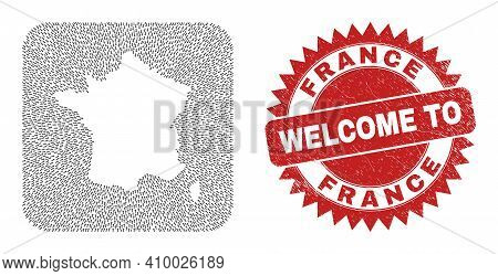 Vector Collage France Map Of Movement Arrows And Rubber Welcome Seal. Collage Geographic France Map