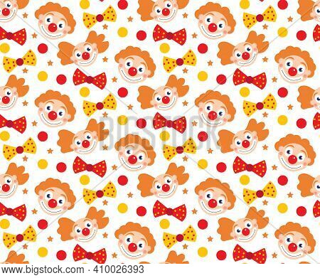 Happy Purim Seamless Pattern With Clowns. Circus, Carnival Endless Texture, Background. Vector Illus