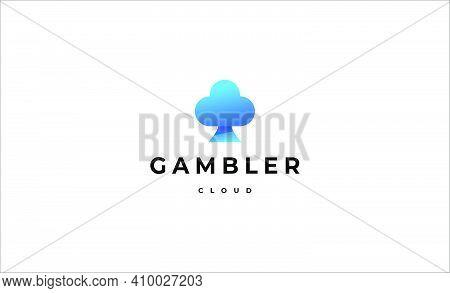Gambler Cloud Logo Design Vector Icon Illustration