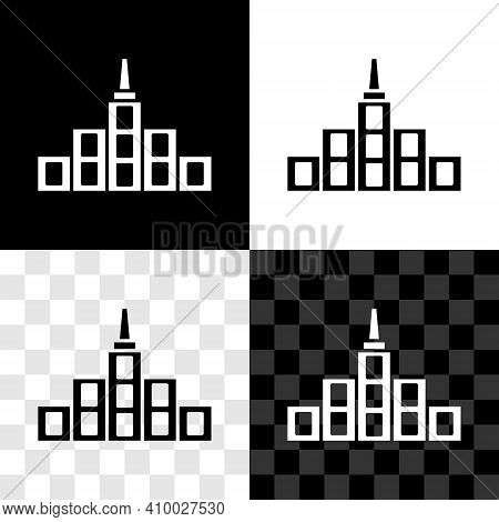 Set City Landscape Icon Isolated On Black And White, Transparent Background. Metropolis Architecture