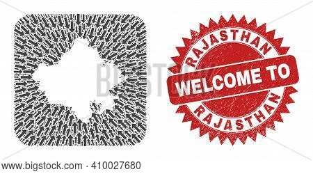 Vector Collage Rajasthan State Map Of Pointing Arrows And Rubber Welcome Seal. Collage Geographic Ra