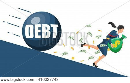 Businesswoman On Mountain Running Away From Big Debt Weight. Business Woman With Money Bag And Wreck