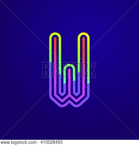 Neon Light W Letter Line Logo. Colored Tube Font For Events Posters, Lacing Emblem, Nightlife Banner