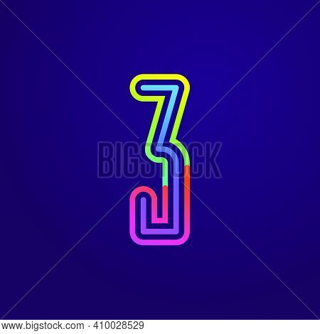 Neon Light Number Three Line Logo. Colored Tube Font For Events Posters, Lacing Emblem, Nightlife Ba