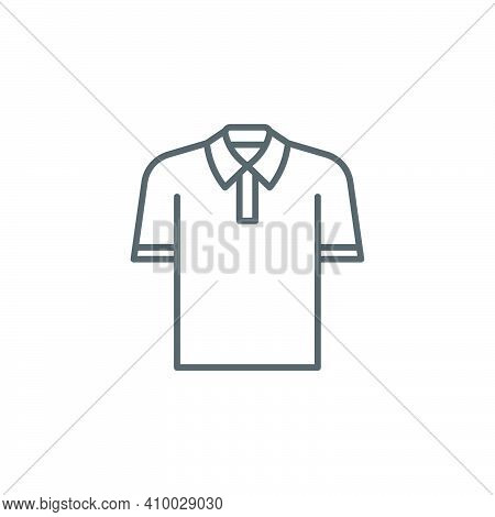 Polo Shirt Icon, Color, Line, Outline Vector Sign, Linear Style Pictogram Isolated On White. Symbol,