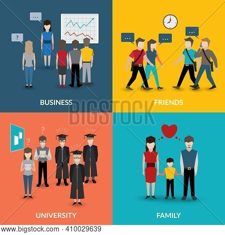 People Social Behavior Communication Patterns Four Flat Icons Composition For University Business Fa