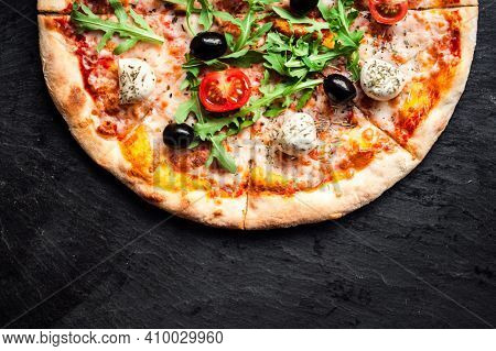 Tasty Italian Pizza Made From An Authentic Recipe. Mozzarella Topping Mealted On Top. Sauce Aside. P