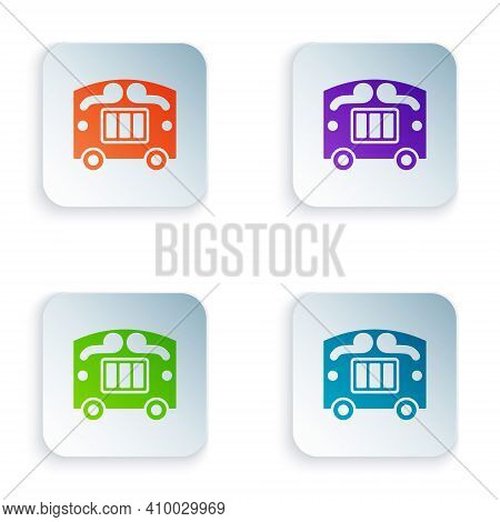 Color Circus Wagon Icon Isolated On White Background. Circus Trailer, Wagon Wheel. Set Colorful Icon