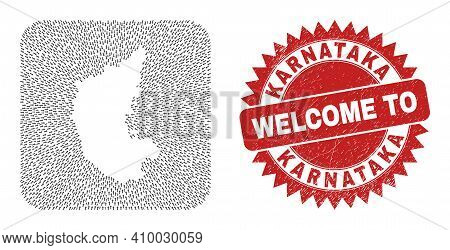 Vector Mosaic Karnataka State Map Of Pointing Arrows And Rubber Welcome Stamp. Mosaic Geographic Kar