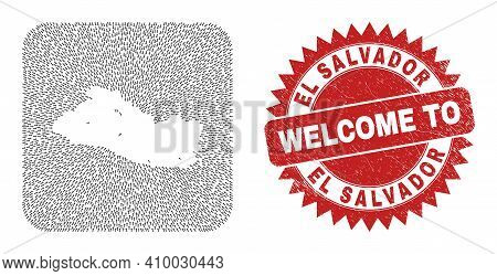 Vector Collage El Salvador Map Of Immigration Arrows And Rubber Welcome Stamp. Collage Geographic El