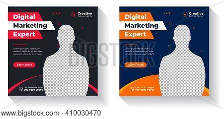 Digital Marketing Social Media Post Template, Digital Marketing Agency, Square Flyer Template,  Digi
