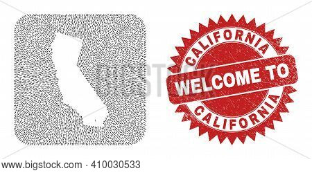 Vector Mosaic California State Map Of Direction Arrows And Grunge Welcome Badge. Mosaic Geographic C