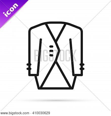 Black Line Suit Icon Isolated On White Background. Tuxedo. Wedding Suits With Necktie. Vector