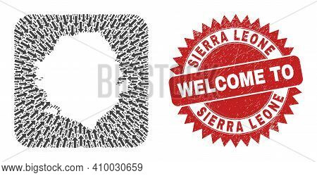 Vector Collage Sierra Leone Map Of Motion Arrows And Rubber Welcome Stamp. Collage Geographic Sierra