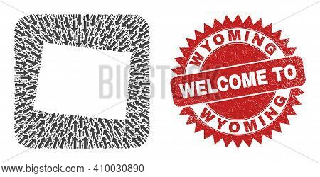 Vector Collage Wyoming State Map Of Immigration Arrows And Rubber Welcome Badge. Collage Geographic