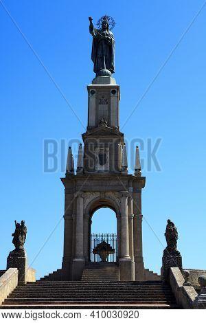 Felanitx, Majorca / Spain - August 25, 2016: Statue In Santuari De Sant Salvador Monastery, Santuari