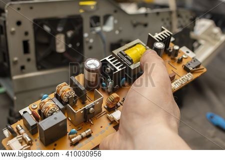 View Of The Electronic Board, The Power Supply Circuit Of The Device With Radio Components In The Ha