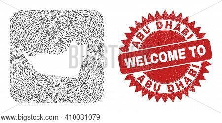 Vector Collage Abu Dhabi Emirate Map Of Delivery Arrows And Grunge Welcome Badge. Collage Geographic