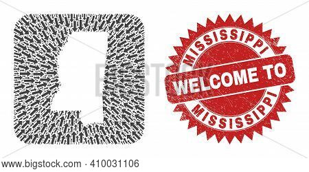Vector Mosaic Mississippi State Map Of Straight Arrows And Grunge Welcome Seal Stamp. Mosaic Geograp