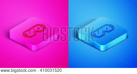 Isometric Line Diving Mask Icon Isolated On Pink And Blue Background. Extreme Sport. Diving Underwat