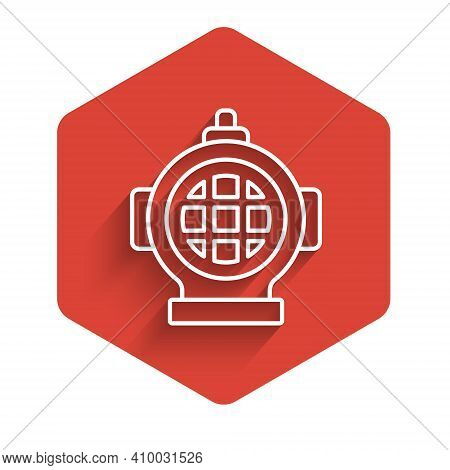 White Line Aqualung Icon Isolated With Long Shadow. Diving Helmet. Diving Underwater Equipment. Red