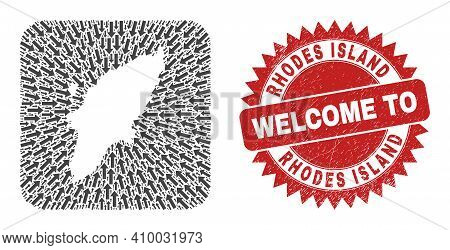 Vector Mosaic Rhodes Island Map Of Navigation Arrows And Rubber Welcome Stamp. Mosaic Geographic Rho
