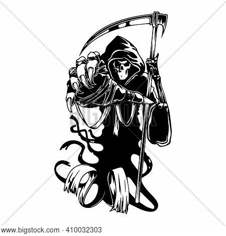 Grim Reaper. A Silhouette Figure Representing Death With A Large Scythe.tattoo Mockup. T-shirt Print