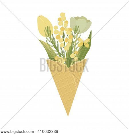 Mimosa Flowers Spring Bouquet With Butterfly. Vector Illustration.
