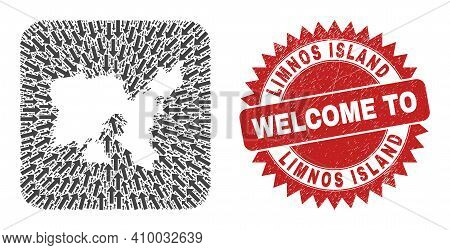 Vector Collage Limnos Island Map Of Motion Arrows And Rubber Welcome Seal. Collage Geographic Limnos