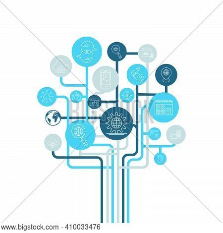 Vector Illustration, Internet Technology. World Wide Web, Internet Technology Icons. Search Engine A