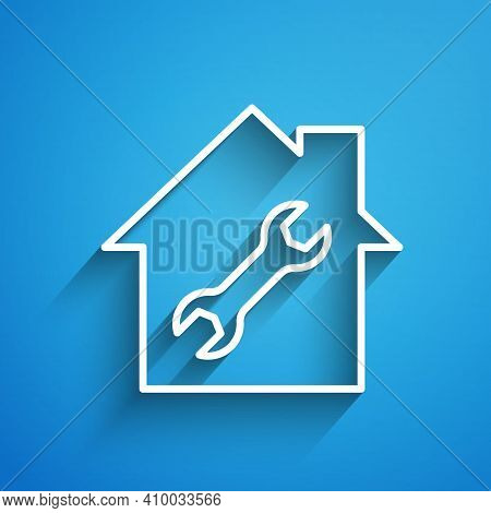 White Line House Or Home With Wrench Icon Isolated On Blue Background. Adjusting, Service, Setting,