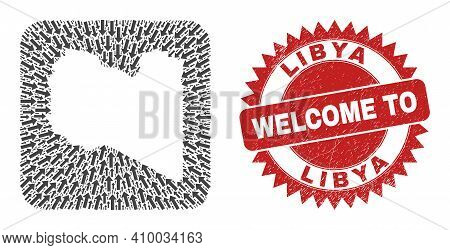 Vector Mosaic Libya Map Of Delivery Arrows And Scratched Welcome Seal. Mosaic Geographic Libya Map C
